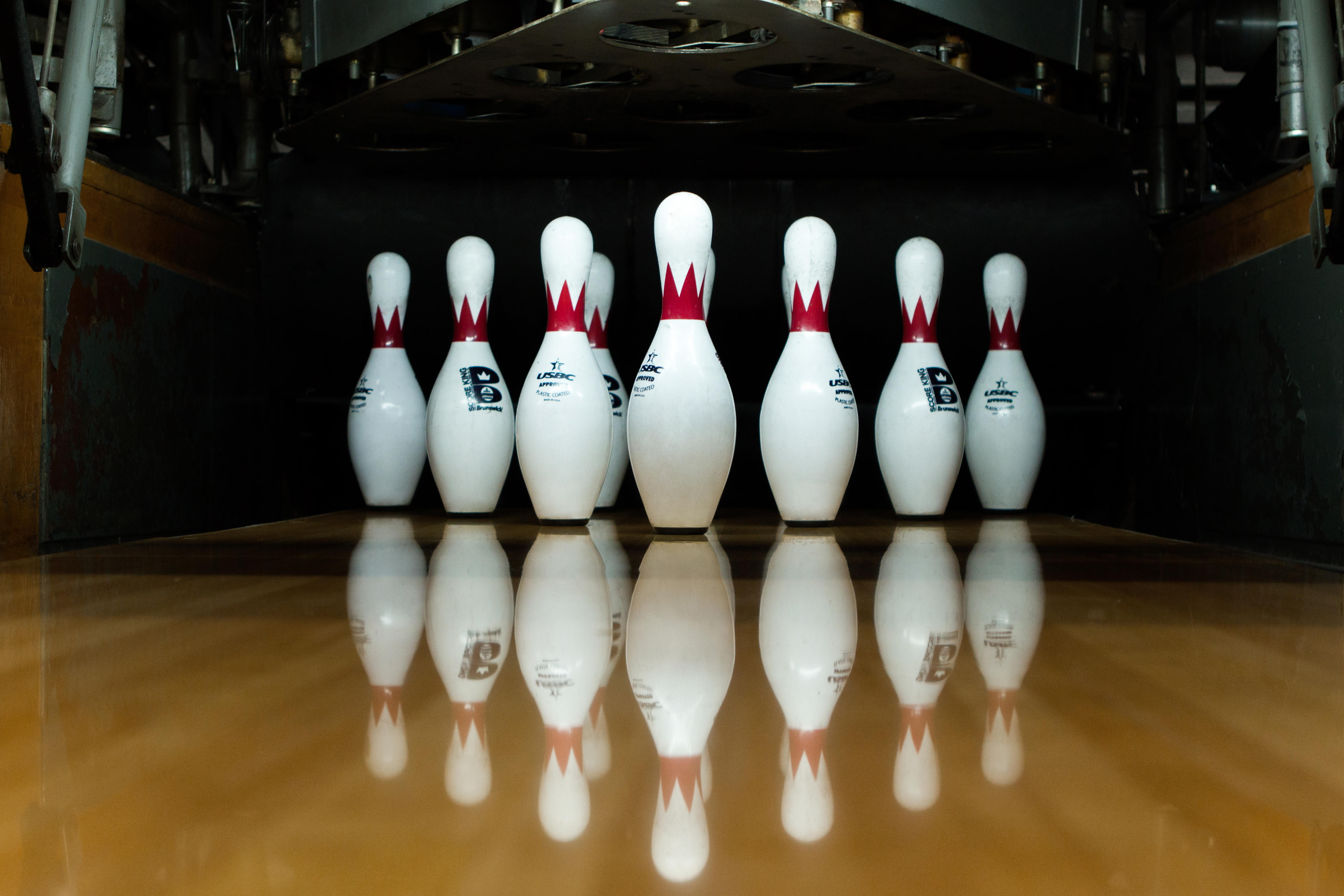 Bowling pins on a lane